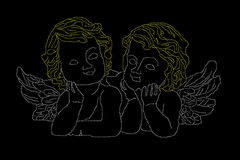 Angels. Two angels on a black background vector illustration