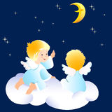 Angels. Cute little angels sitting on clouds. They look at the night sky and indicate to the moon. Illustration done on separate layers stock illustration