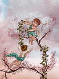 Angels. In a tree with flowers royalty free illustration