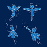 Angels. Sweet angels snow and stars - illustration Stock Images