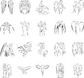 Angels. 20 themed EPS images of angels. The number of vector nodes is absolute minimum. The images are very easy to use and edit and are extremely smooth even Royalty Free Stock Photos
