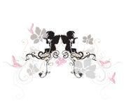 Angels. Illustration of angels and retro patterns stock illustration