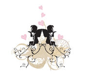 Angels. Illustration of angels and retro patterns royalty free illustration