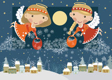 Angels above the village. Christmas angels with presents above the town vector illustration