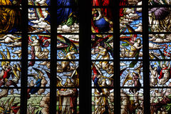 Angels of the Apocaplyps. Stained glass window of the angels of the Apocalypse Stock Image