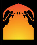 Angels in an Arch. Vector illustration of two trumpeting angels in an arch Royalty Free Stock Photos