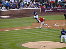 Angels batter Albert Pujols runs towards firstbase as Rockies ca Stock Images