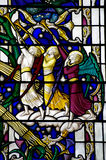 Angels blowing on a trumpet (stained glass) Royalty Free Stock Photography