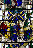Angels blowing on a trumpet (stained glass) Stock Photos