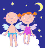 Angels boy and girl at night under the moon. Card Angels boy and girl at night under the moon Royalty Free Stock Photos