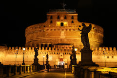 Angels on bridge Sant'Angelo by night Royalty Free Stock Photography