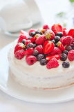 Angels cake with berries Stock Image