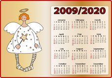 Angels calendar 2009 and 2020. With gold background vector illustration