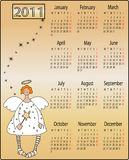 Angels calendar 2011. Calendar for 2011 year with funny angels Royalty Free Stock Photos