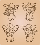 Angels Caroling Sketch Royalty Free Stock Photo