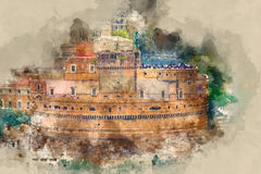 The Angels Castle called Castel Sant Angelo in Rome - great aerial view from Vatican. Illustration Royalty Free Stock Photo