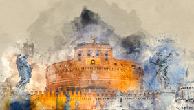 Angels Castle illuminated in the evening - Castel Sant Angelo in Rome. Illustration Stock Images