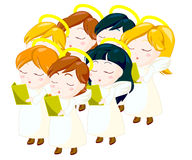 Angels choir. Illustration of angels kids singing carols. clipping path included Royalty Free Stock Photography