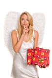 Angels for Christmas with packages and gifts. Stock Photography