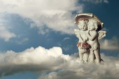 Angels on the cloud. Two angels on the cloud Royalty Free Stock Image