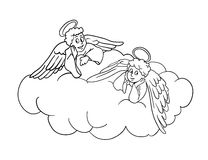 Angels on a cloud, vector illustration Royalty Free Stock Image