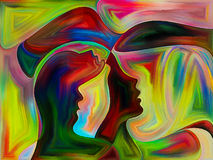 Angels of Color. Interplay of colorful human profiles on the subject of geometry, art and mind Royalty Free Stock Images
