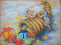 Angels with cornucopia. Two little angels holding a cornucopia filled with gifts. Pastel painting made by myself Royalty Free Stock Photography