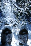 Angels covered in snow outdoor Stock Images