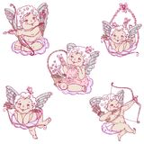 Angels or cupids on the clouds in sketch style. Angels or cupids set. Angels sitting on the clouds with arrows or flowers. Colored vector illustration in sketch Royalty Free Stock Photos