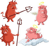 Angels and Demons. Cartoon piglets Angels and Demons, vector Stock Photography