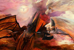 Angels and demons. Fight apocalyptic scene art Royalty Free Stock Photography