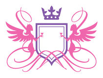 Angels Or Devils. Coat Of Arms With Angels stock illustration