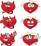 Angels and devils Heart Valentine`s royalty free stock photo