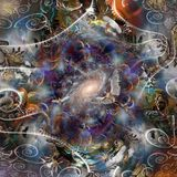 Angels of Eternity. Spiritual composition. Angels of Eternity. Time spirals and vivid galaxy in endless spaces royalty free stock image
