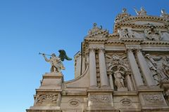 Angels at the facade of Santa Maria del Giglio church Royalty Free Stock Images