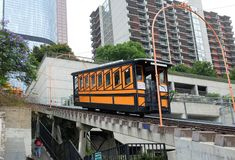 Angels Flight is a landmark narrow gauge funicular railway in the Bunker Hill district of Downtown Los Angeles. LOS ANGELES - CALIFORNIA: JUNE 18, 2019: Angels royalty free stock image