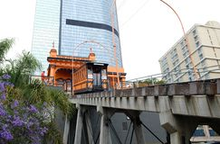 Angels Flight, a landmark narrow gauge funicular railway in the Bunker Hill district of Downtown Los Angeles at upper station. LOS ANGELES - CALIFORNIA: JUNE 18 royalty free stock photo