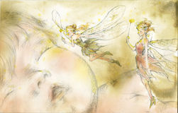 Angels flying beside baby with water color Royalty Free Stock Photos