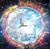Angels flying. Vivid galaxy. Naked winged men represents angels. Human elements were created with 3D software and are not from any actual human likenesses vector illustration