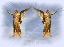 Angels at the gates of heaven. Stock Photo