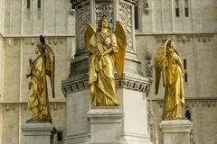 Angels. Golden angels in front of the cathedral in Zagreb, Croatia royalty free stock images