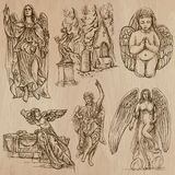 Angels - hand drawn vector pack. ANGELS. Collection of an hand drawn illustrations (vectors - pack no.1). Each drawing comprises of two or three layers of vector illustration