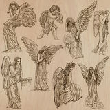 Angels - hand drawn vector pack. ANGELS. Collection of an hand drawn illustrations (vectors - pack no.2). Each drawing comprises of two or three layers of vector illustration