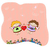 Angels and heart. Flying  on a string Royalty Free Stock Photo