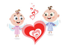 Angels with hearts Royalty Free Stock Photography
