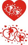 Angels and hearts. St. valentines day decoration - angels and hearts Stock Photo