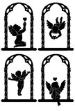 Angels with hearts. Silhouettes of angels with hearts in arcs Royalty Free Stock Photography