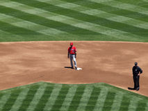 Angels Hideki Matsui stands on second base Royalty Free Stock Photo