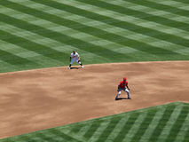 Angels Hideki Matsui takes a lead from second base Stock Photography