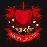 Angels are holding big red heart. Happy Easter. Greeting inscrip Royalty Free Stock Photos